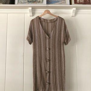 Dresses & Skirts - ▪️vintage striped tan dress▪️button beach coverup
